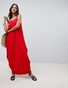 Read more about Asos design tab back drape hareem maxi dress - red