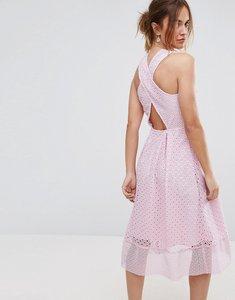 Read more about Warehouse premium lace cross back midi dress - light pink