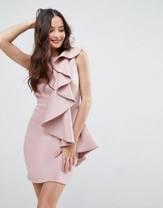 Read more about Asos ruffle front mini scuba dress - mink