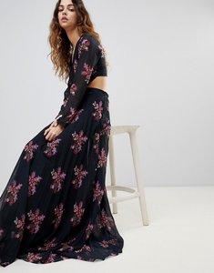 Read more about Zibi maxi thigh split cut out floral maxi dress - multi