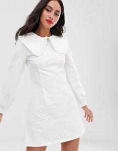 Read more about Asos design denim frill collar mini dress in white