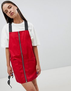 Read more about The ragged priest pinafore dress with zip front - red
