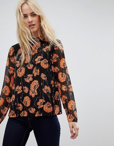 Read more about Pieces dreal high neck floral print blouse - black orange