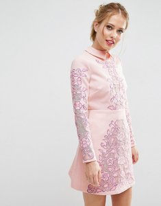 Read more about Asos salon cutwork scallop back aline mini dress - pink