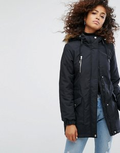 Read more about Noisy may faux fur parka - black