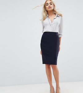 Read more about Asos design petite high waisted pencil skirt - navy