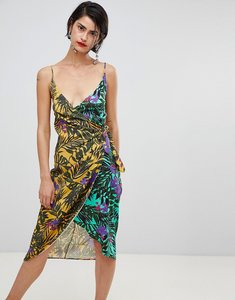 Read more about Stradivarius floral print skinny strap wrap dress - multi