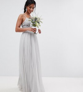 Read more about Maya petite cami strap sequin top tulle detail maxi bridesmaid dress - micro chip