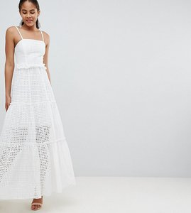Read more about John zack tall high cutwork lace layered maxi dress - white