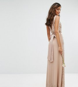 Read more about Maya tall embellished maxi dress with bow back - mink
