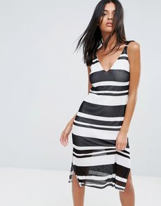 Read more about A state of being sprint stripe midi dress - black white white