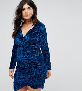 Read more about Club l plus velvet wrap front mini dress - royal navy