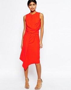 Read more about Asos drape front asymmetric hem midi pencil dress - red
