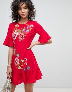 Read more about Asos design embroidered mini skater dress - red