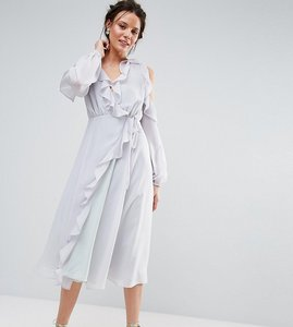 Read more about True decadence tall cold shoulder wrap front ruffle detail skater dress - soft grey