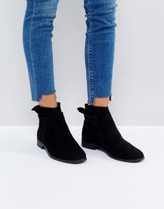 Read more about Hudson london aretha black suede tie back flat ankle boots - black suede
