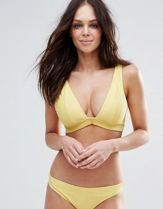 Read more about Asos fuller bust mix and match deep band plunge bikini top in rib - yellow
