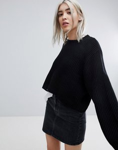 Read more about Weekday thick rib cropped jumper - black