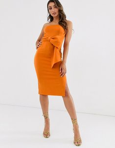 Read more about Laced in love bandeau maxi scuba dress with bow detail in burnt orange
