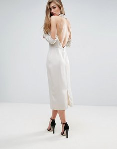 Read more about Asos cowl front open back midi dress - silver