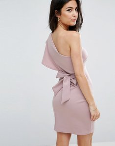 Read more about Club l one shoulder scuba ruffle detail dress with a bow tie back detail - violet
