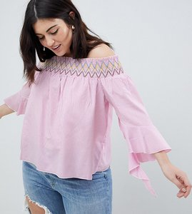 Read more about Koko stripe off the shoulder top with asymmetric bell sleeves - pink