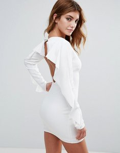 Read more about Club l open back dress with frill sleeve - white