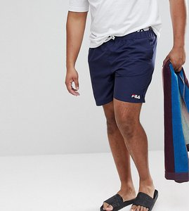 Read more about Fila plus black line swim shorts with logo waistband in navy - navy