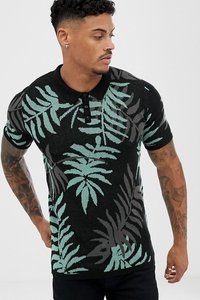 Read more about Asos design muscle fit knitted polo with leaf design in black - black