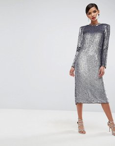 Read more about Asos red carpet iridescent sequin shoulder pad midi dress - silver