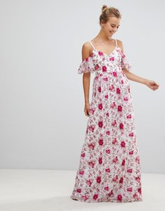 Read more about Little mistress printed lace maxi dress - print