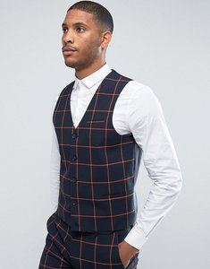 Read more about Asos super skinny suit waistcoat in navy with orange windowpane check - navy