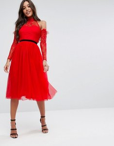 Read more about Asos premium tulle cold shoulder midi prom dress - red