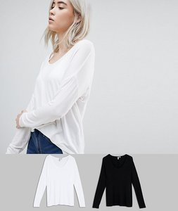 Read more about Asos design top with batwing long sleeve 2 pack - black white