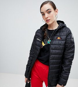 Read more about Ellesse zip front padded jacket with hood - black