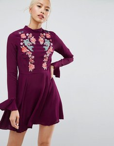 Read more about Asos embroidered trumpet sleeve mini dress - berry