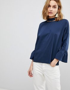 Read more about Resume aure trumpet sleeve blouse with choker neck - navy