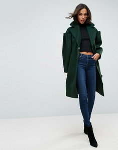 Read more about Asos slim coat with statement sleeve - green