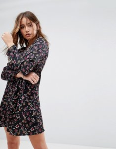 Read more about Glamorous long sleeve swing dress in grunge floral - black multi