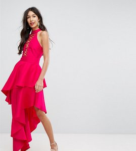 Read more about Asos tall sexy lace up tiered maxi dress - pink