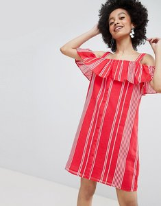 Read more about Only stripe cold shoulder button through mini dress in red