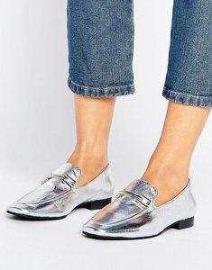 Read more about Park lane leather trim metallic loafer - silver leather
