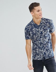 Read more about Bellfield short sleeve revere collar shirt with wave print - navy