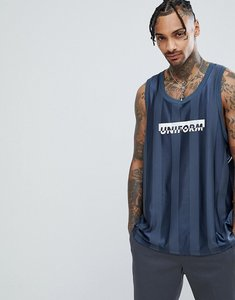 Read more about Asos oversized vest in mesh with uniform print - navy