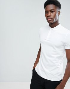 Read more about Asos pique polo with button down collar - white