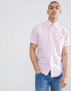 Read more about Polo ralph lauren short sleeve seersucker shirt with player logo in pink white stripe - pink white