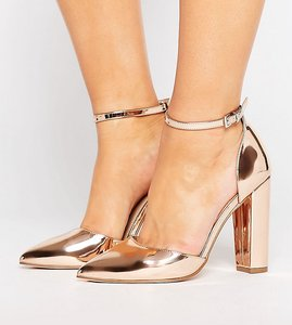 Read more about Asos penalty wide fit pointed heels - nude metallic