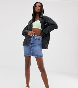 Read more about Asos design tall denim original high waisted skirt in stonewash blue - blue