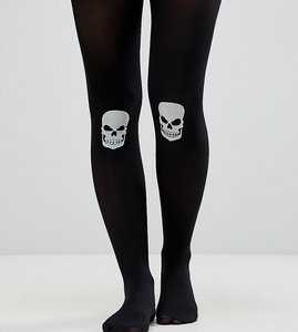 Read more about Asos maternity halloween glow in the dark skull on knee tights - black