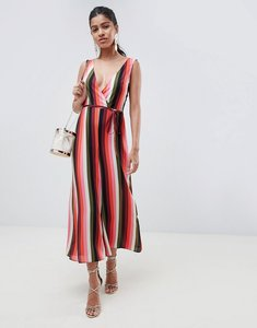 Read more about Asos design jumpsuit with wrap front in multi stripe - stripe